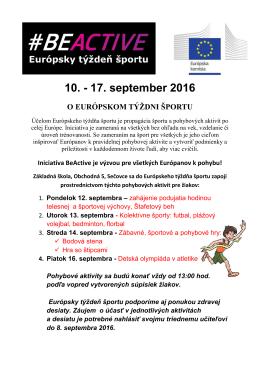 10. - 17. september 2016 O EURÓPSKOM TÝŽDNI ŠPORTU