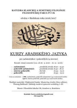 Kurz arabského jazyka pre verejnosť Katedra klasickej semitskej