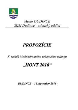 "PROPOZÍCIE ""HONT 2016"""