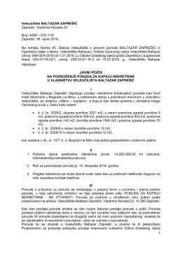 Natječaj za prodaju hotela - Veleučilište Baltazar Zaprešić