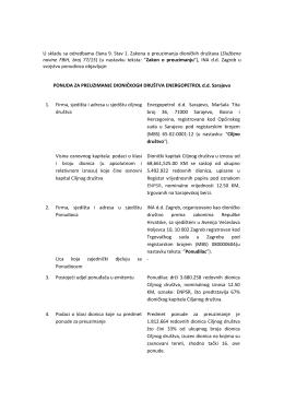 INA d.d. - Ponuda za preuzimanje Energopetrol d.d. Sarajevo