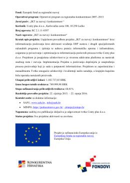 Fond: Europski fond za regionalni razvoj