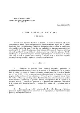 Broj: I Kž 566/07-6 U IME REPUBLIKE HRVATSKE