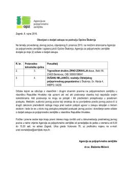 Obavijest o dodjeli zakupa na području Općine Škabrnja