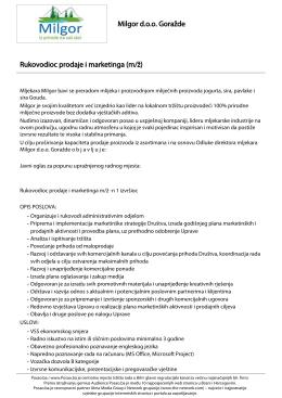 Rukovodioc prodaje i marketinga (m/ž) Milgor d.o.o. Goražde