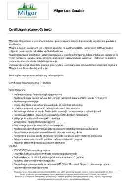 Certificirani računovođa (m/ž) Milgor doo Goražde