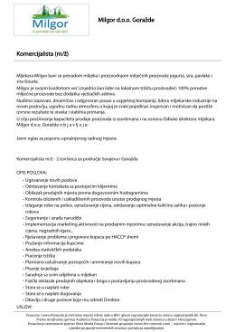 Komercijalista (m/ž) Milgor doo Goražde