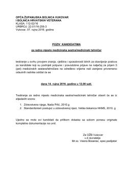 poziv kandidatima - Opća županijska bolnica Vukovar