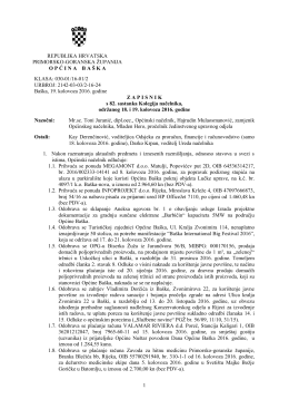 Zapisnik 82. sastanka Kolegija načelnika – 18. i 19.8