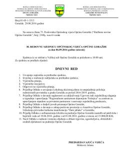 dnevni red - Općina Goražde