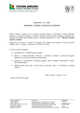 Informacija o održavanju radionice na temu - IGT-a