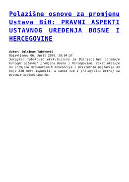 Polazišne osnove za promjenu Ustava BiH: PRAVNI