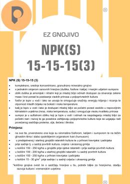 NPK (S) 15-15-15 (3) Primjena
