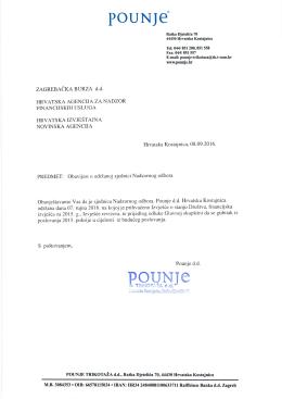 Pounje d.d. - Obavijest o održanoj sjednici Nadzornog odbora