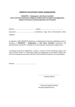 önkéntes nyilatkozat roma származásról