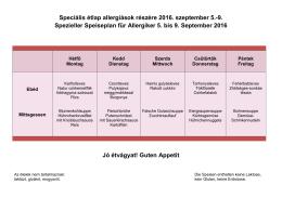 Speciális étlap allergiások részére 2016. szeptember 5.