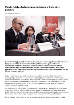 Poczta Polska strategicznym partnerem w budowie e