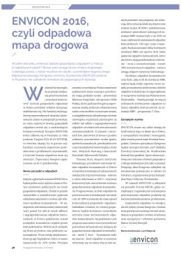 """artykuł """"ENVICON 2016, czyli odpadowa mapa drogowa"""""""