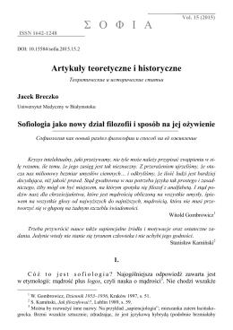 Sofiologia jako nowy dział filozofii i sposób na jej ożywienie