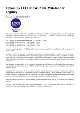 Egzaminy LCCI w PWSZ im. Witelona w Legnicy
