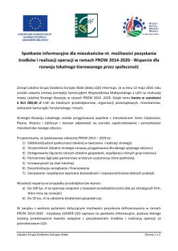 Spotkanie informacyjne dla mieszkańców nt. możliwości pozyskania