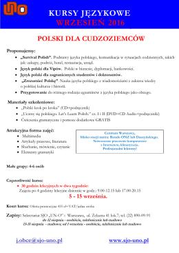 """Polski dla cudzoziemców - """"UNO"""": angielski warszawa"""