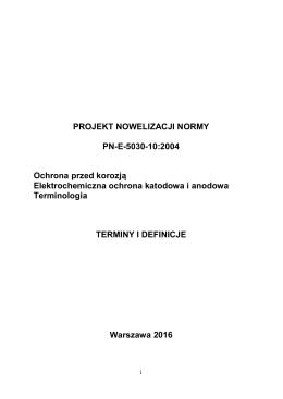 projekt nowelizacji normy pn-e-5030-10:2004