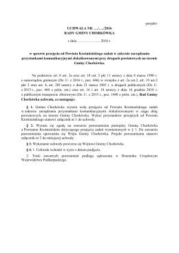 projekt uchwały - Gmina Chorkówka