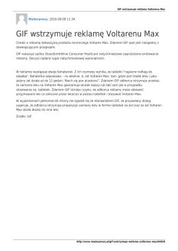 MedExpressPL-GIF wstrzymuje reklamę Voltarenu Max