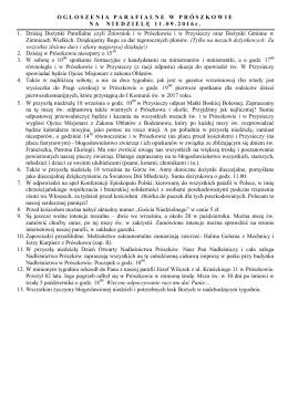 OG Ł OSZENIAPARAFIALNEWPR Ó SZKOWIENANIEDZIEL Ę 4.09