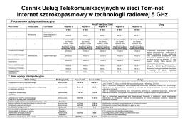 Cennik Usług w sieci Tomnet 5GHZ