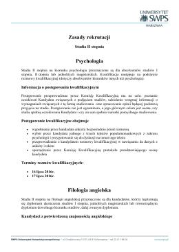 Zasady rekrutacji Psychologia Filologia angielska