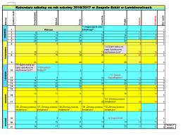 Kalendarz szkolny na rok szkolny 2016/2017 w Zespole Szkół w