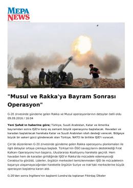 Musul ve Rakka`ya Bayram Sonrası Operasyon