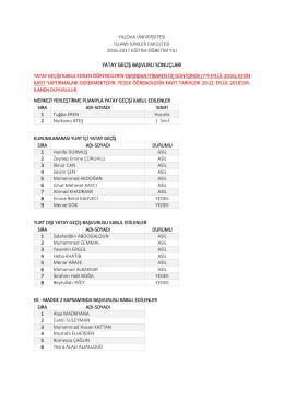Yatay Geçiş Sonuçları 06 Eylül 2016