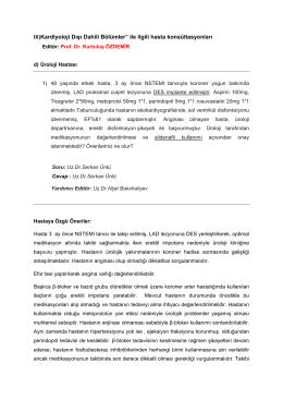 """IX) Kardiyoloji Dışı Dahili Bölümler"""" ile ilgili hasta konsültasyonları"""