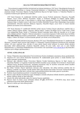 Selçuk Üniversitesi akademik personel alım ilanı