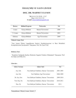 özgeçmiş ve yayın listesi doç. dr. mahmut ulusoy