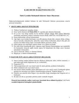 T.C. KARLSRUHE BAŞKONSOLOSLUĞU Türk Uyruklu Sözleşmeli