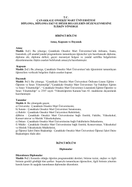 tc çanakkale onsekiz mart üniversitesi diploma, diploma eki ve diğer