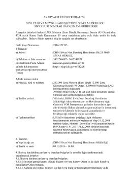 DHMİ Sivas Nuri Demirağ Havalimanı Müdürlüğü Akaryakıt Ürünleri