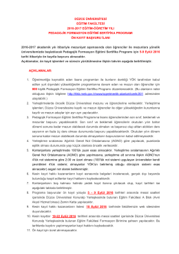 Detaylı Açıklama İçin Tıklayınız - Düzce Üniversitesi Eğitim Fakültesi