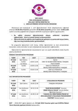 1. sınıf oryantasyon programı 2016-2017