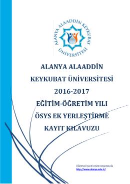 Ek Yerleştirme Kayıt İşlemleri - Alanya Alaaddin Keykubat Üniversitesi