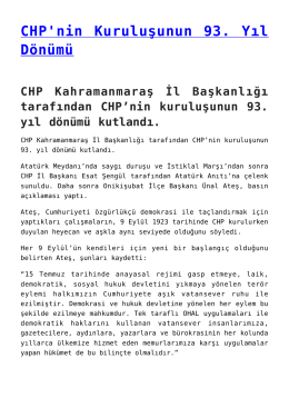 CHP Kahramanmaraş İl Başkanlığı tarafından CHP`nin kuruluşunun