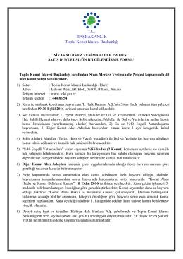 TOKİ Sivas Yenimahalle satış duyurusu
