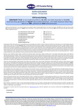 JCR Eurasia Rating, Şekerbank T.A.Ş.`nin Uzun Vadeli Ulusal Notu`nu
