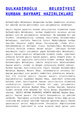 dulkadiroğlu belediyesi kurban bayramı hazırlıkları