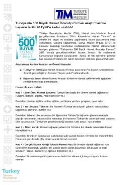Türkiye`nin 500 Büyük Hizmet İhracatçı Firması Araştırması`na