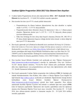 Uzaktan Eğitim Programları 2016-2017 Güz Dönemi Ders Kayıtları